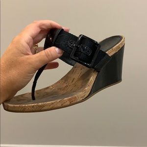 Coach Bernadette patent wedge sandals